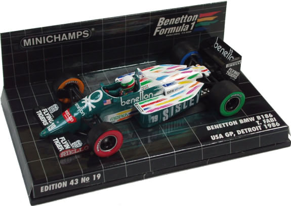 MINICHAMPS 1/43 1986 BENETTON FORD B186 GP USA � TEO FABI