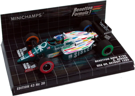 MINICHAMPS 1/43 1986 BENETTON FORD B186 GP USA � GERHARD BERGER