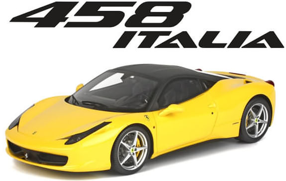 BBR 1/18 FERRARI 458 ITALIA - YELLOW / BLACK VR