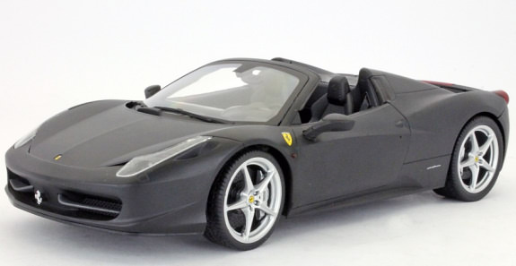 1/18 HOT WHEELS FOUNDATION FERRARI 458 ITALIA SPIDER- FLAT BLACK