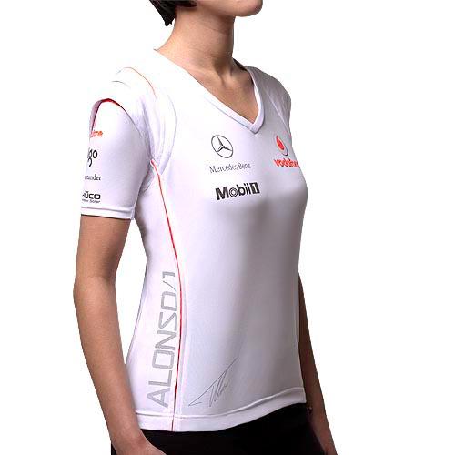 t shirt maillot formule 1 femme vodafone mclaren mercedes taille xs ebay. Black Bedroom Furniture Sets. Home Design Ideas